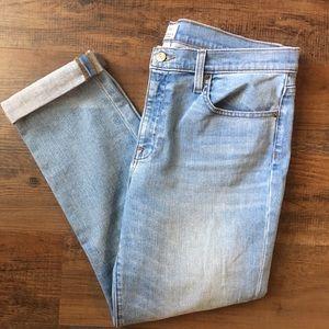 J Crew Slim Broken In Boyfriend Jeans Ankle Light